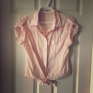 Cropped Peach Tie Up shirt